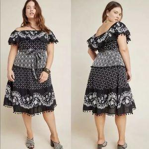 Anthro A+ Marisol Embroidered Off Shoulder Dress
